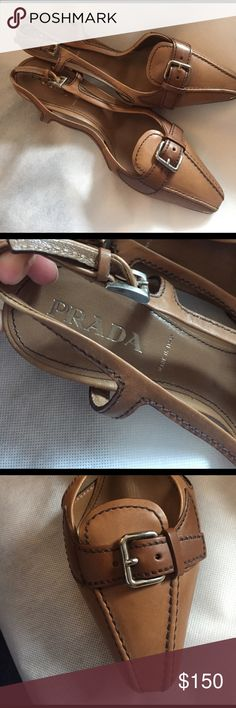 Designer sale. Prada brown leather buckle mules Like new, barely worn. Minor scuff on the front toe of one of the shoes. 100% authentic. Size 36.5 Prada Shoes Heels