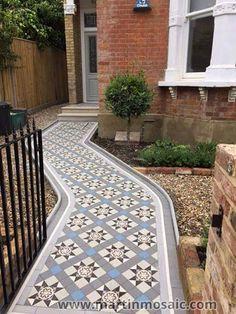 Gallery - Martin Mosaic Ltd - Victorian Floor Tiles in Wimbledon, London. Victorian Hallway Tiles, Victorian Mosaic Tile, Tiled Hallway, Hallway Flooring, Front Garden Path, Front Path, Front Gardens, Garden Paths, Victorian Front Garden
