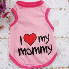 I Heart My Mommy and Daddy Cute Dog Shirt (4 Colors)