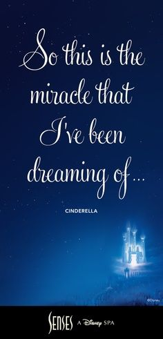 "This makes me think of my Thomas , my husband 💗. ""So this is the miracle that I've been dreaming off."" ~ Cinderella Take a moment for a deep breath and a smile. Brought to you by Senses - A Disney Spa. Disney World Resorts, Walt Disney World, Disney Love Quotes, Disney Family Quotes, Portsmouth, Princesa Disney, Disney Movies, Disney Songs, Disney Cards"