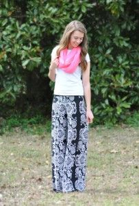 Black and white palazzo pants, hot pink infinity scarf, curls, spring outfit