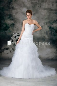 Summer A-Line Sweetheart Court Train Satin Fine-netting Most Beautiful Wedding Dresses
