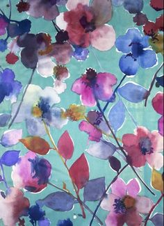 From the excellent New York designer/artist, Luli Sanchez, who divides her time between Brooklyn and the Yucatan, a gorgeously coloured and expertly handled watercolour floral. Textures Patterns, Print Patterns, Floral Patterns, Watercolor Flowers, Watercolor Art, Arte Floral, Pattern Illustration, Illustrations, Oeuvre D'art