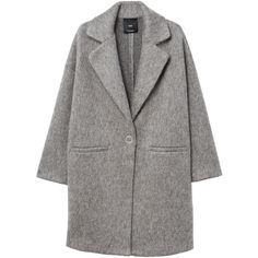 Unstructured Mohair-Blend Coat (290 PEN) ❤ liked on Polyvore featuring outerwear, coats, long sleeve coat, mango coats, fur-lined coats and oversized coat