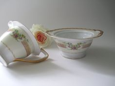 Vintage Empress China Pink Gold Floral Cream & by thechinagirl