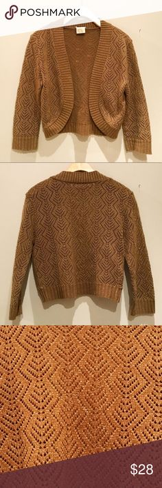Cropped Brown Metallic Sweater Beautiful Cache cropped sweater /cardigan with metallic details. Perfect over a dress or over a Tank with jeans. Excellent condition! Cache Sweaters