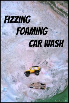 Fizzy Foaming Car Wash: A three stage car wash with delicious scented vinegar! Perfect for some outdoor messy summer play from Fun at Home with Kids (How much fun would this be with trains? Sensory Bins, Sensory Activities, Preschool Activities, Sensory Play, Outdoor Activities, Projects For Kids, Crafts For Kids, Family Crafts, Transportation Theme