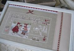 Extra fabric and touches of ribbon to help frame a smaller stitched piece. Cross Stitch Finishing, Theme Noel, Extra Fabric, Xmas Ornaments, Christmas Cross, Le Point, Cross Stitching, Hand Embroidery, Cross Stitch Patterns