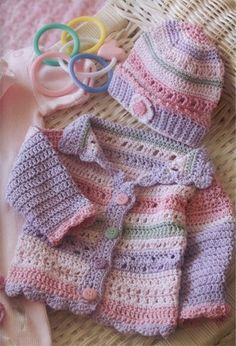 Crochet~ Girl's Striped Hat & Sweater- Pattern for sale Pull Crochet, Crochet Girls, Love Crochet, Crochet For Kids, Crochet Children, Crochet Woman, Crochet Baby Sweaters, Crochet Baby Clothes, Baby Knitting