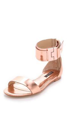 Rachel Zoe Rose Gold Metallic Leather Gladiator Sandals- Love them!