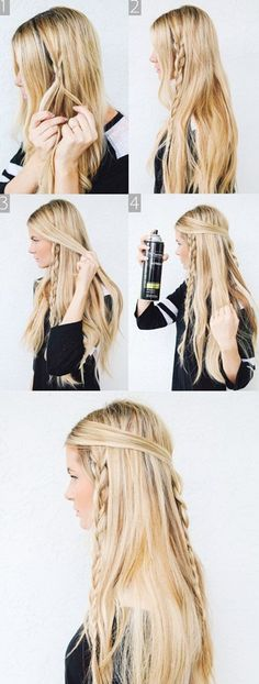 Hippie Braids - Barefoot Blonde 〰love brayding my hair Messy Braided Hairstyles, Braided Hairstyles Tutorials, My Hairstyle, Pretty Hairstyles, Hair Updo, Hairstyle Ideas, Bohemian Hairstyles, Makeup Hairstyle, Braided Updo