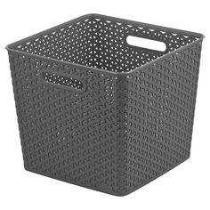 Y Weave Square Storage Bin - Grey $10.19- Room Essentials™ Material: Polypropylene Finish: Textured Care and Cleaning: Wipe Clean Product Dimensions: 11.100,H 12.640,W 12.640D
