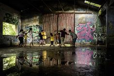 Children of Kolkata, part of the local skateboarding community, learn hip-hop dance steps in a derelict building, Kolkata Skateboarding, Kolkata, India