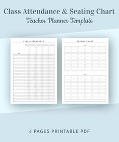 Student Attendance Sheet & Seating Chart Template, Teacher Organizer Inserts, Teacher Planner Pages, Letter, Half Letter PDF