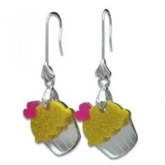 Sweet Glitter Yellow Mirror Cupcake Silver Earrings Yellow Mirrors, Silver Earrings Online, Cupcake, Crochet Earrings, Glitter, Style Inspiration, Personalized Items, Sweet, Accessories