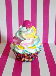 Gumball Fake Cupcake Photo Prop, Birthday Party Decorations, Shop Displays, Multi Color Frosting, Candy Christmas Decor