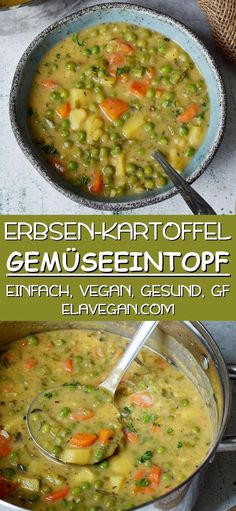 This hearty vegan vegetable soup contains green peas, potatoes, carrots, and other healthy vegetables. The recipe for this vegetable stew is plant-based, gluten-free and easy to prepare in a single … Veggie Stew Recipes, Vegan Vegetable Soup, Vegetarian Recipes, Cooking Recipes, Vegitarian Soup Recipes, Vegan Stew, Vegan Soups, Healthy Meal Prep, Healthy Dinner Recipes