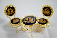 Limoges Doll House Miniature  Chairs and Table Blue Cobalt Gold Gilt Furniture