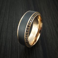 18K Rose Gold Ring with Elysium Black Diamond Inlay and Eternity Set Black Diamonds Custom Made Band