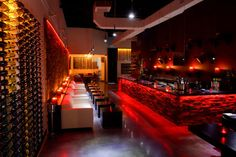 Tin ceiling, marble bar, rows of wine bottles glinting in the candle light--what could be cozier than a wine bar late in the evening? (Shown: Gottino, in the West . Lounge Design, Bar Lounge, Restaurant Design, Restaurant Bar, Proof Bar, Red Bar, Bar Areas, Cafe Bar, Decoration