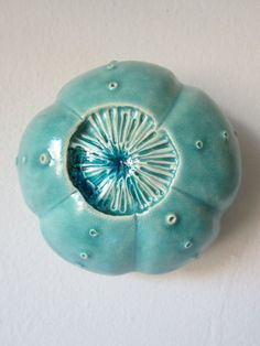 Turquoise Ceramic Sea Urchin Pod Wall Art with Blue Glass 3