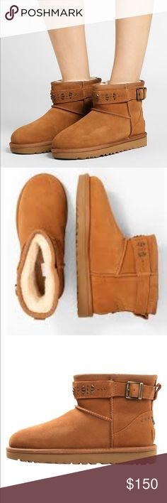 UGG JADINE MOTO STYLE WOMEN ANKEL BOOTS CHESTNUT 7 UGG JADINE MOTO STYLE WOMEN ANKEL BOOTS SUEDE CHESTNUT UGG Shoes Ankle Boots & Booties
