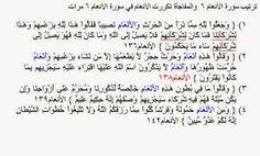 ترتيب سورة الأنعام ٦, تكررت الأنعام فيها ٦ مرات