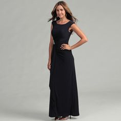 @Overstock - This navy cap-sleeve gown from Eliza J is the perfect dress for any occasion. This piece features a comfortable full lining, a figure-flattering ruffled waist, and an elegant scoop neck. A brilliant beaded brooch finishes the outfit with flair. http://www.overstock.com/Clothing-Shoes/Eliza-J-Womens-Navy-Cap-sleeve-Gown-with-Brooche/6525403/product.html?CID=214117 $129.99