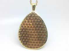 """Fitbit One pendant / necklace - Teardrop """"Honeycomb"""" Gold tone with taupe leather"""
