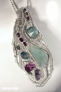 Aquamarine pendant  complex wire wrapped sterling silver by IMNIUM, $449.00