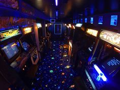 Awesome arcade room with cool carpet!
