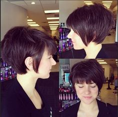 Cute Short Hairstyle with Blunt Bangs - Pixie Haircut for Women and Girls
