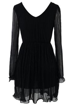 Metalic Fluted Dress in Black