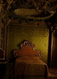 Bedroom of an abandoned mansion.