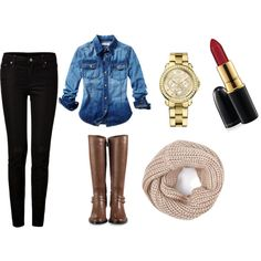 black skinny jeans, faded denim shirt, brown boots, cream infinity scarf, big watch for basic day