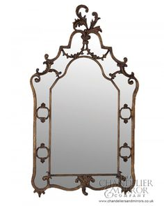 Yately Mirror With Crested Bordeaux Frame