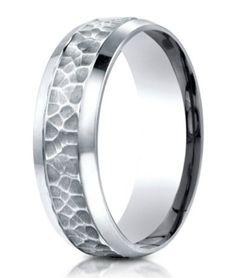 Designer Palladium Ring With Hammered Finish Center