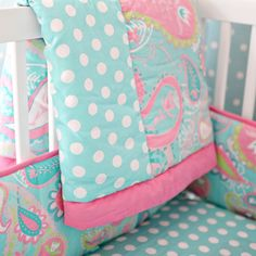 My Baby Sam Pixie Aqua Crib Set @Sarah Nasafi Grayce - The paisley is maybe a bit much, but the colors & polka dots are adorable