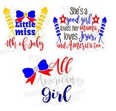#svg girls 4th Of July SVG bundle! *4th of July t-shirt SVG bundle* 3 files! by OnAwhimMugsNmore on Etsy