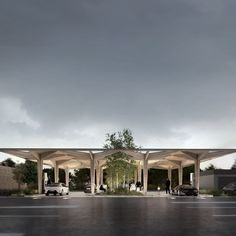 Danish architecture firm COBE has designed a concept for a modular electric car charging station, which is set to be built across Scandinavia. Entrance Design, Entrance Gates, Gate Design, Roof Design, Facade Design, Timber Architecture, Architecture Design, Seaside Apartment, Apartment Design