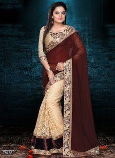 Cream & Brown Bridal Wear Indian Saree Store  Visit: http://www.indiansareestore.com/sarees/party-wear-sarees