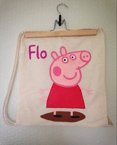 Peppa Pig hand painted character drawstring bag, personalised with name