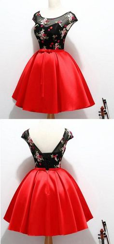 5085ae082e0 Black And Red Satin Homecoming Party Dresses With Applique