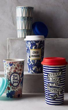 "Sweet Salutation Travel Mug #anthrofave, My favorite is the blue and white floral ""good morning"" mug."