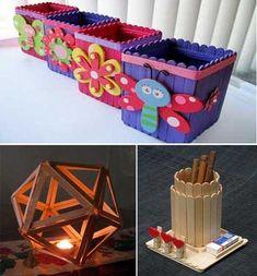"""25 Ideas """"DIY and Craft"""" para crear y decorar con palitos de helado. Diy Popsicle Stick Crafts, Popsicle Crafts, Craft Sticks, Easy Crafts, Diy And Crafts, Crafts For Kids, Popsicle Stick Picture Frame, Diy With Kids, Pot A Crayon"""