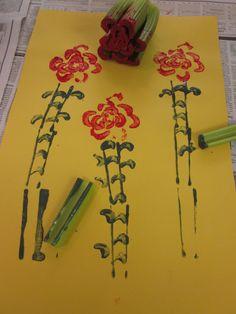 Inspired Montessori and Arts at Dundee Montessori: Children's Printmaking - Celery Roses
