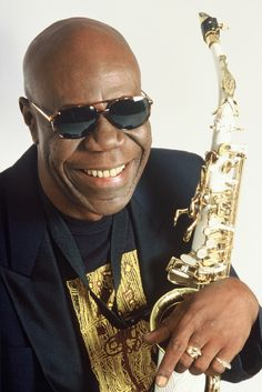 """Emmanuel """"Manu"""" N'Djoké Dibango is a Cameroonian saxophonist and vibraphone player. He developed a musical style fusing jazz, funk and traditional Cameroonian music"""