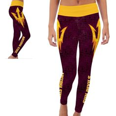 Arizona Asu Sun Devils Yoga Pants Designs ($50) ❤ liked on Polyvore featuring activewear, activewear pants, grey, pants and women's clothing