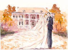 Custom Wedding Portrait  Save the Date Illustration Bride by Reani
