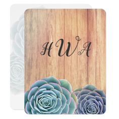 Succulents Wood Monogram Blank Note Cards - monogram gifts unique design style monogrammed diy cyo customize